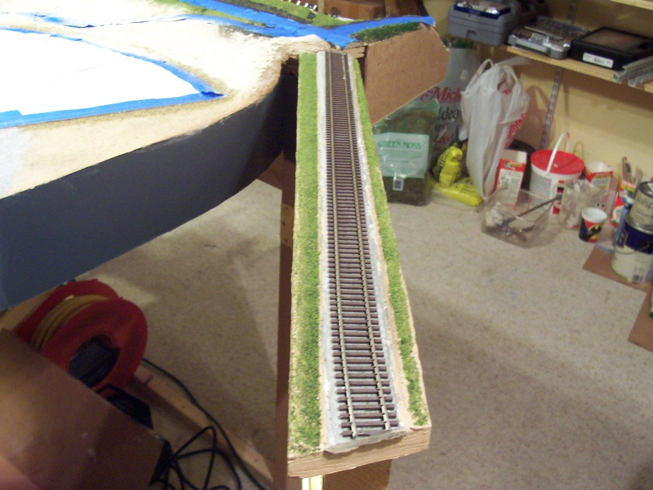 Getting ready to ballast the track